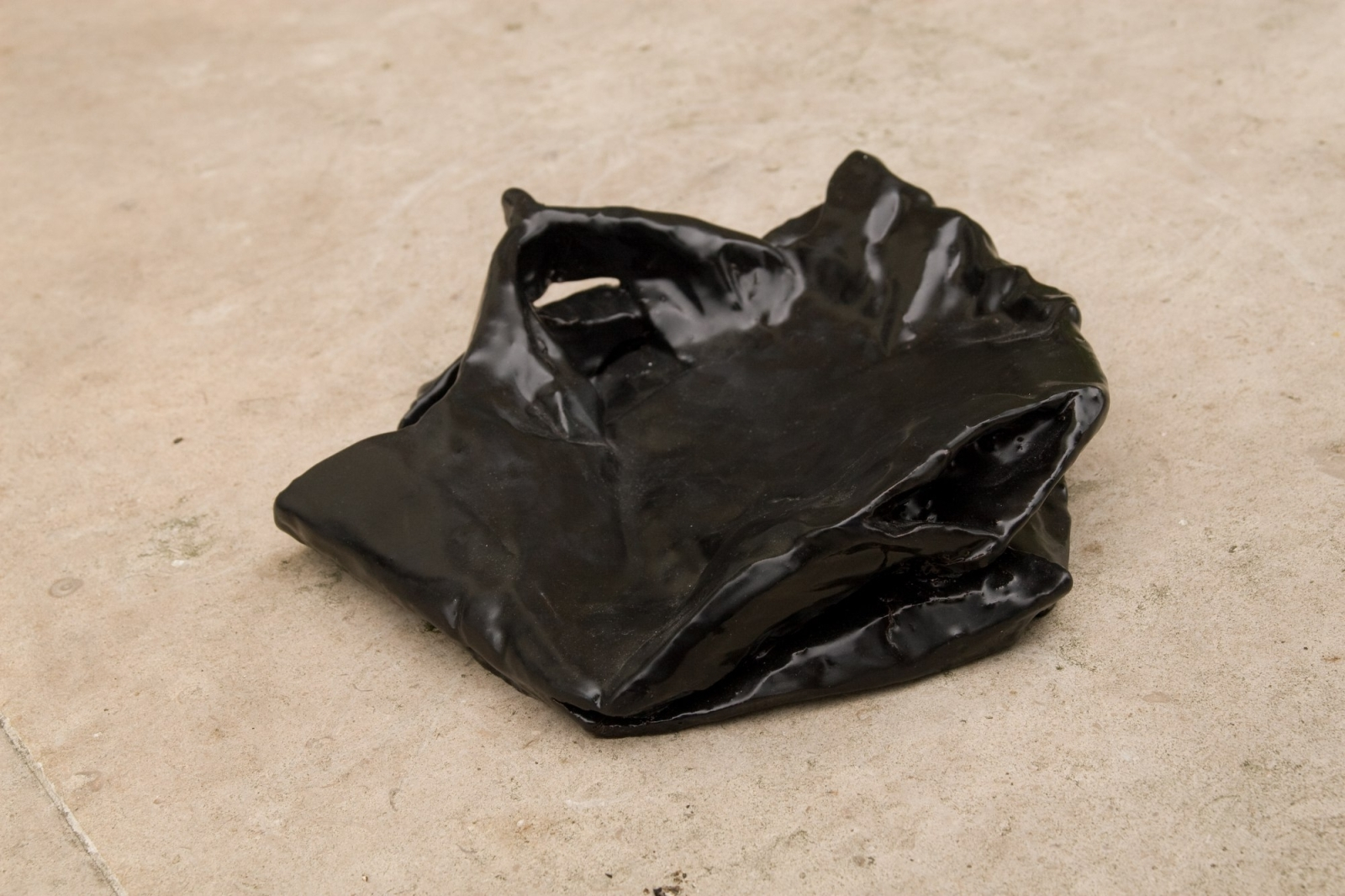 Bag 2, 2008, Fired Ceramic, Black Glaze