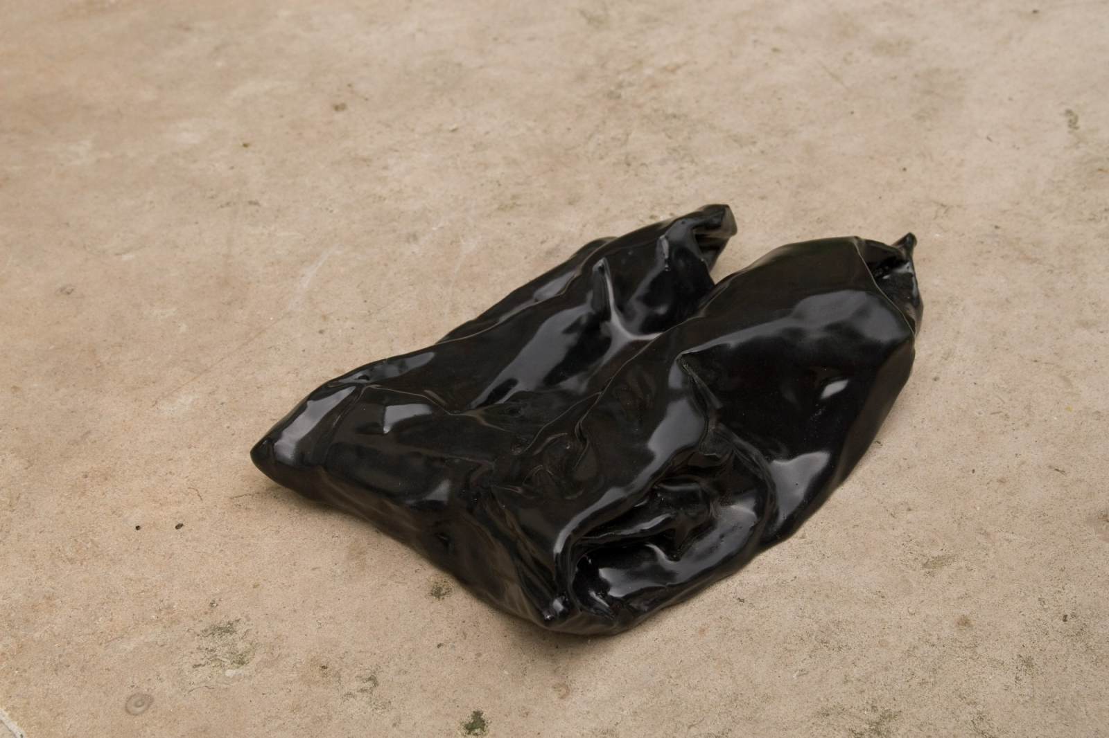 Bag 4, 2008, Fired Ceramic, Black Glaze