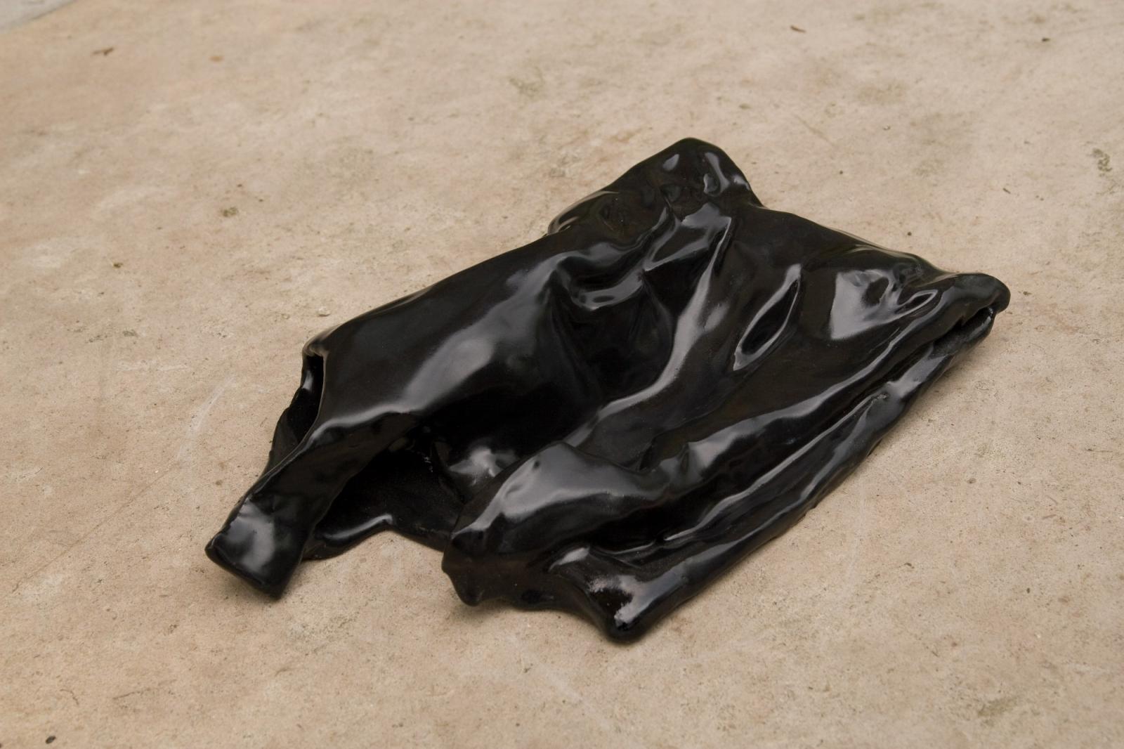 Bag 4, 2008, Fired Ceramic, Black Glaze