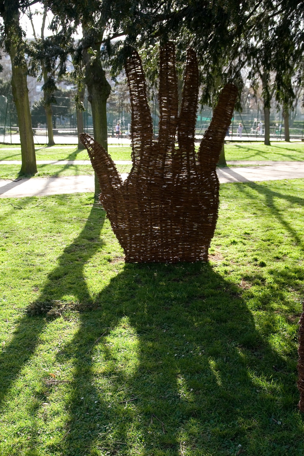 Les Mains d'Oeuvre, 2008, Woven Willow Wicker, Paris, France, This Site Specific installation was created in a park in Paris, France and supported by CiteCulture and an FSDIE grant. It lasted a month and a half, during which time the elements were modified by local climate conditions.