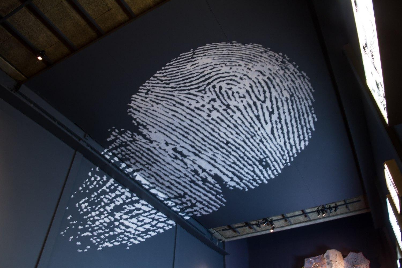 Empreinte Majeure, dessin en ruban adhésif, 3m x 7m, bâche, ruban adhésif entoilé blanc, Installation murale in situ, 2013, Centre Culturel Saint Exupéry, Reims, France.
