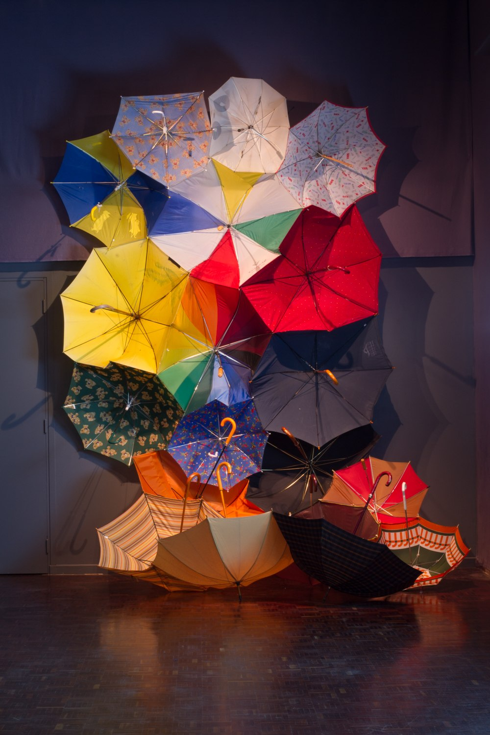Parapluie Collective, Communal Umbrella, 2013, Installation, Dimensions Variable, Used/Broken Umbrellas, Thread, Velcro, Centre Culturel Saint Exupéry, Reims
