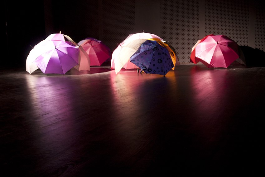 Parapluie Collective, Communal Umbrella, 2010, Installation, Dimensions Variable, Used/Broken Umbrellas, Thread, Velcro