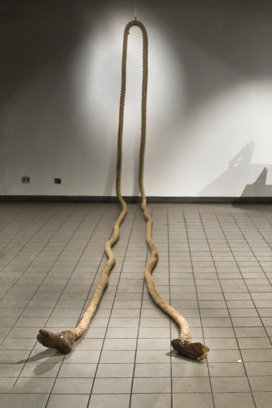 Footsie, 2007, 20 meters of 6cm thick rope, feet 23 cm x 10 cm x 10 cm, Epoxy Resin, Installation variable, Rope, Resin