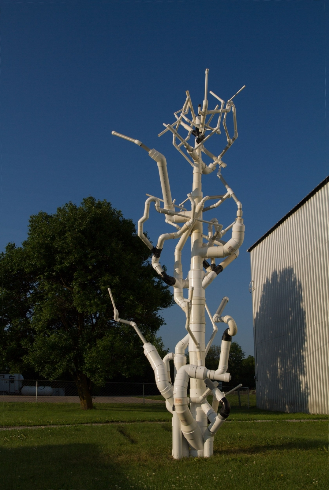 Arbor Vitae, site-specific temporary installation, PVC Pipe, PVC glue, sand, rivets, joinery, sponsored by Kimmel Harding Nelson Center, Art/Industry collaboration with Crown-Line Plastics, Nebraska City, NE