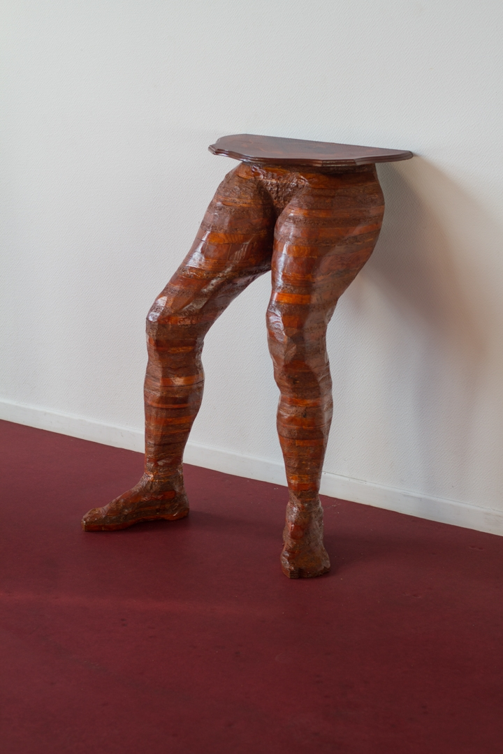 Guéridon, Sculpture fabricated from found oak, pine, cherry, plywood, MDF, and wood glue. 60 cm. X 70 cm. X 100 cm. 2012-2016.