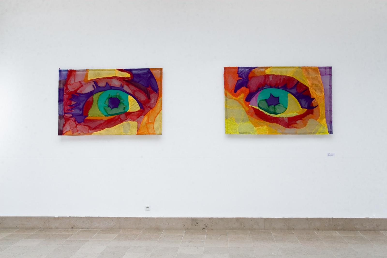 Eye Candy, 2009, Fruit Nets and monofilament, 147 cm x 93 cm x 1 cm x 2 elements