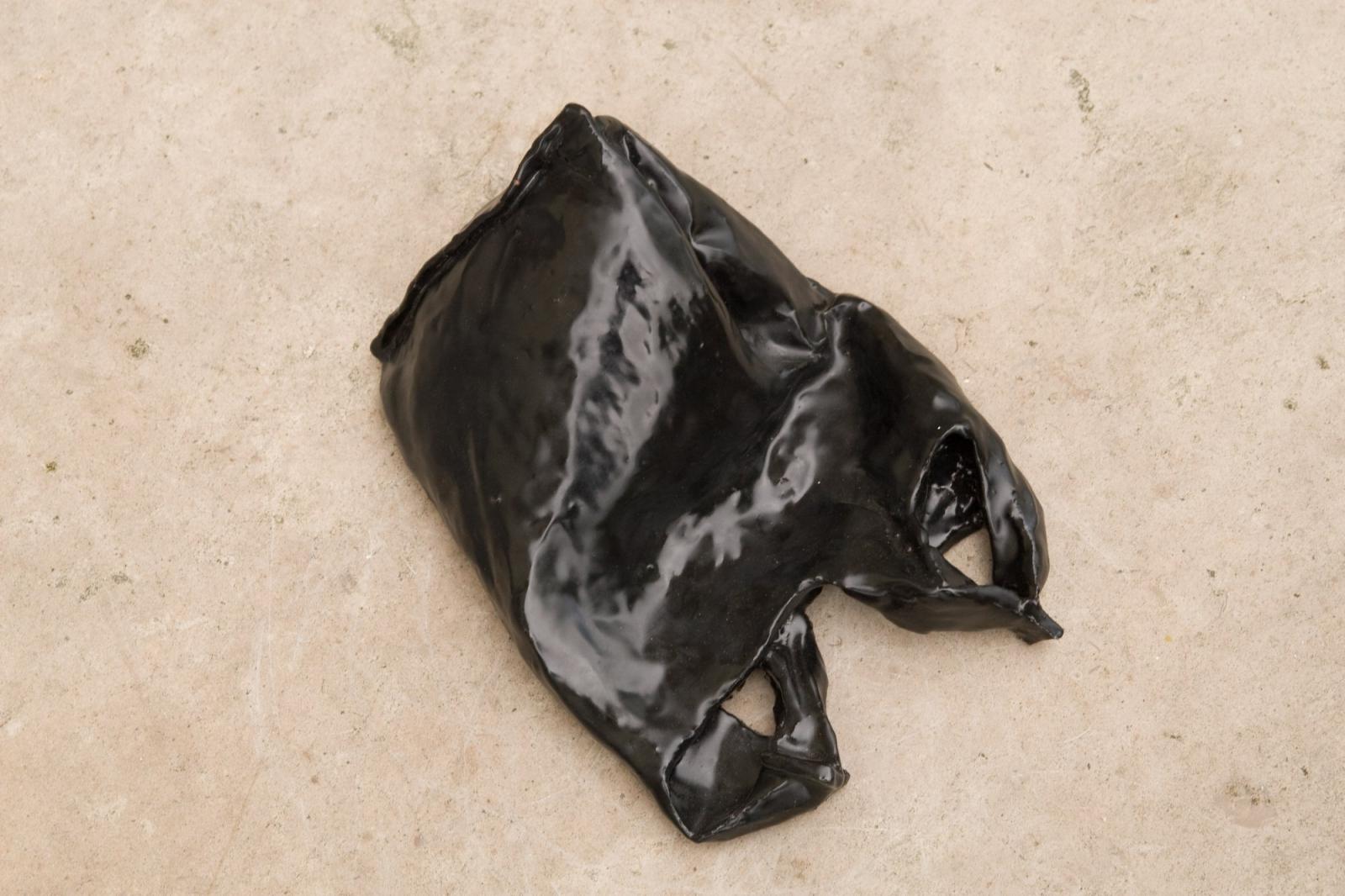 Bag 1, 2008, Fired Ceramic, Black Glaze