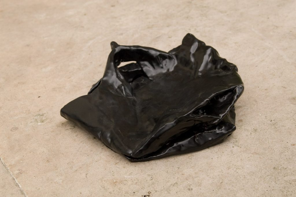 Grocery Bag 4, 2008, Fired Ceramic, Black Glaze, 23 cm x 23 cm x 8 cm.