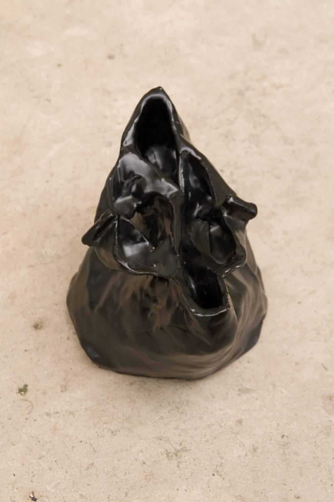 Bag 5, 2008, Fired Ceramic, Black Glaze