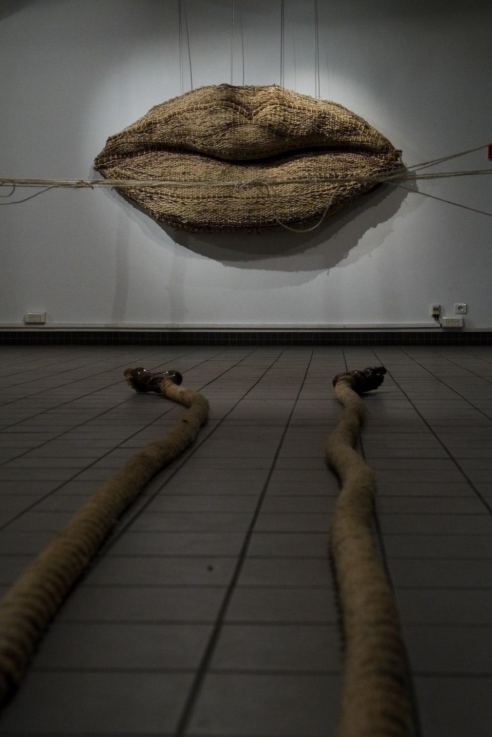 Installation View, Grandes Lèvres, Toile d'araignée, Pied piégé