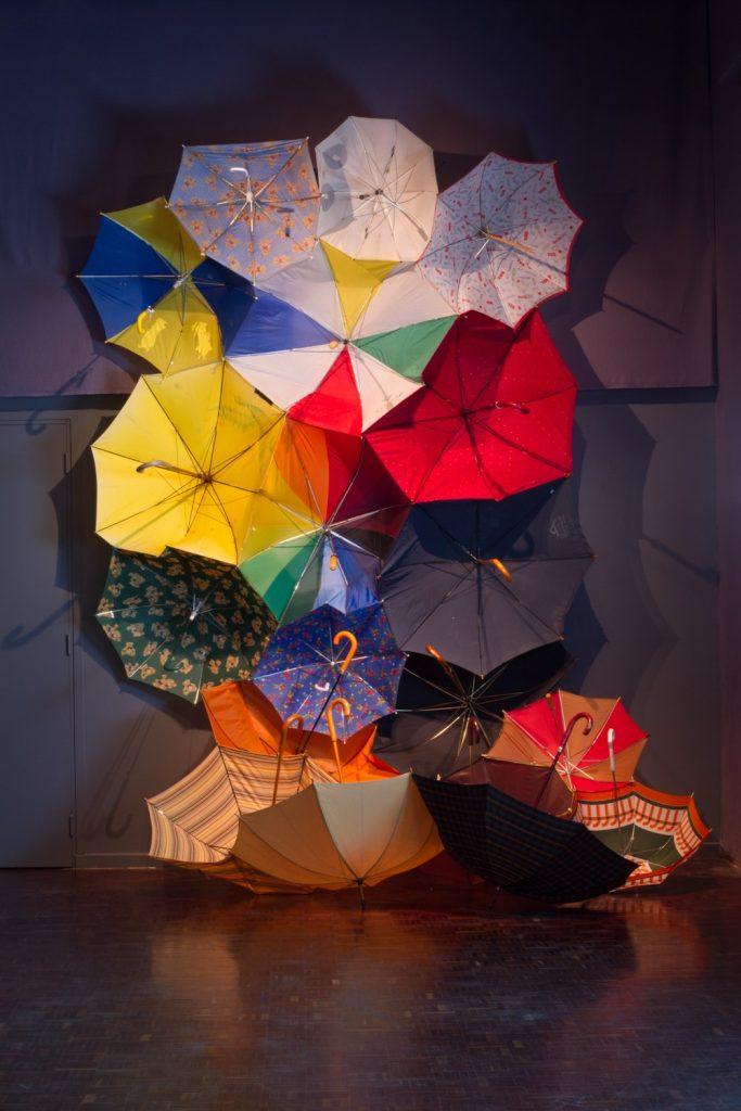 Parapluie Collective, Communal Umbrella, 2013, Installation, Dimensions Variable, Used/Broken Umbrellas, Thread, Velcro, Centre Culturel Saint Exupéry, Reims