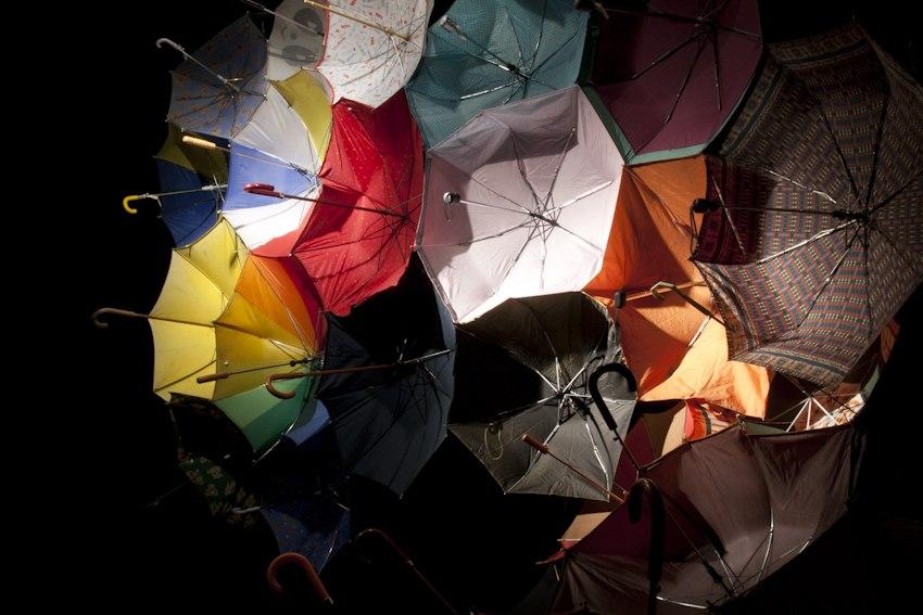Parapluie Collective, Communal Umbrella, 2010, Installation, Dimensions Variable, Used/Broken Umbrellas, Thread, Velcro