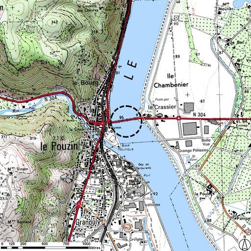 Pont routier du Pouzin, puis passerelle provisoire, puis pont suspendu du Pouzin - Plan de situation (sur fond de SCAN25(R) (C) IGN-2008 (C) Région Rhône-Alpes Licence n°2008-CISE27-1010)