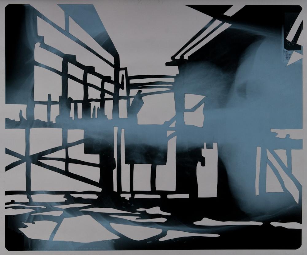 """Frontière interne II 32°38'57.5""""N 35°33'44.0""""E, découpage des radiographies de poumons, 43cm x 35,5 cm"""