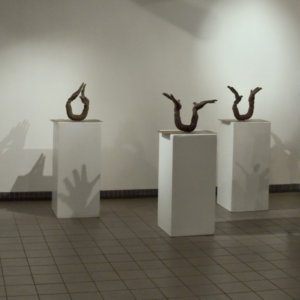 Opening, 2007, 3 elements, 50 cm x 40 cm x 20 cm each, Fired Ceramic, Steel Plate