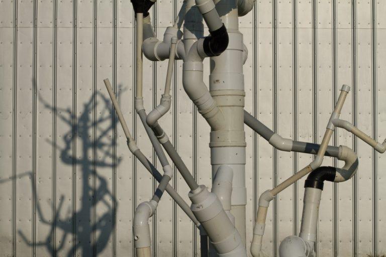 Arbor Vitae, site-specific temporary installation, PVC Pipe, PVC glue, sand, rivets, joinery, sponsored by Kimmel Harding Nelson Center, Art/Industry collaboration with Crown-Line Plastics, Nebraska City, NE