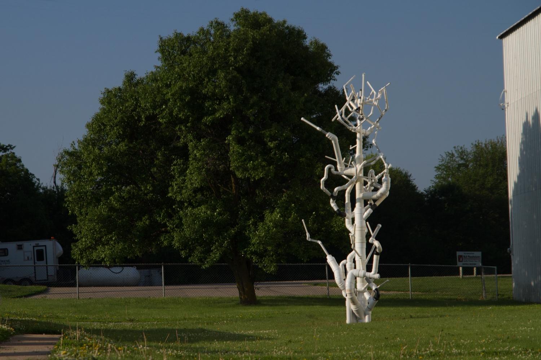 Arbor Vitae, site-specific installation, PVC Pipe, PVC glue, sand, rivets, joinery, sponsored by Kimmel Harding Nelson Center, Art/Industry collaboration with Crown-Line Plastics, Nebraska City, NE