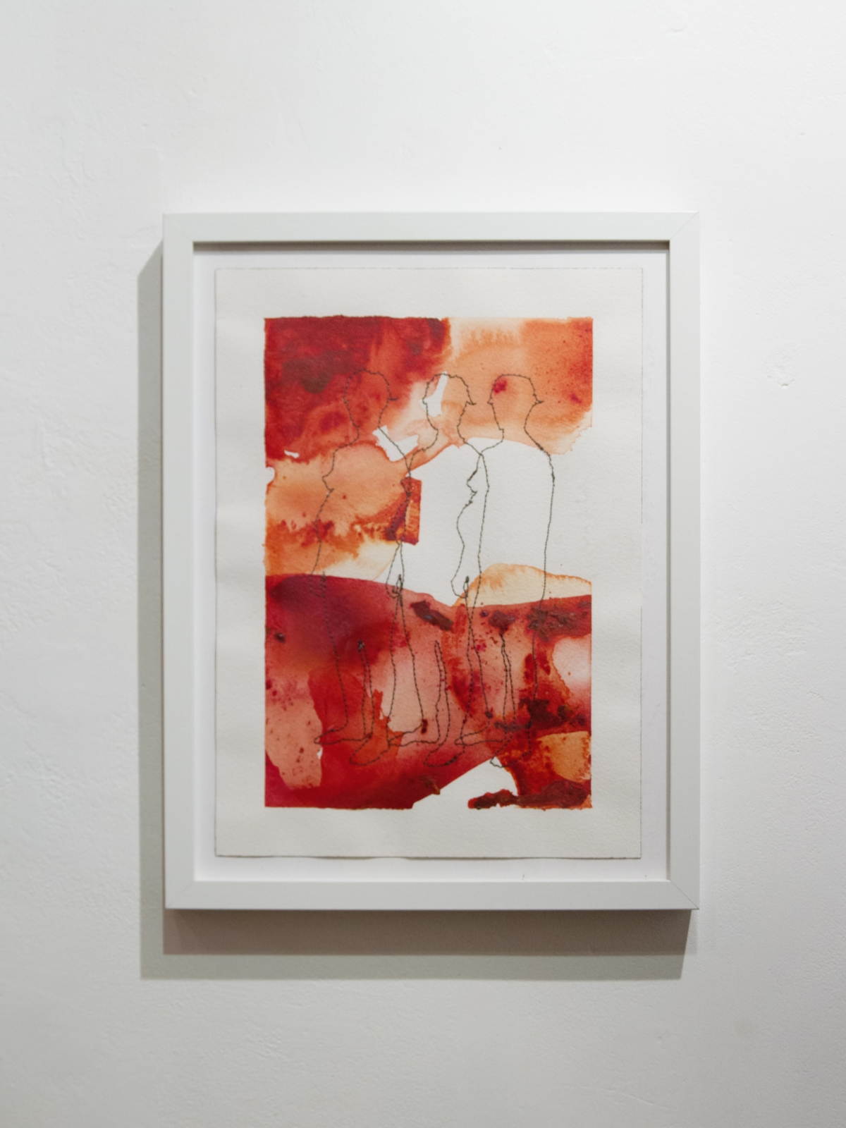 Begetting Series, sewn drawings on paper. Acrylic paint, ink, and watercolour, and three on Arches watercolour paper, 26 x 36 cm, 2018-9.