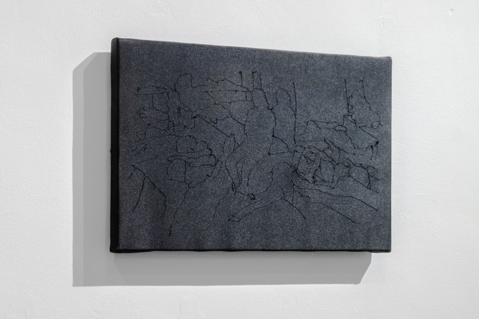 Nothing to See Here (series), 2019, sewn drawing in black thread on blackout fabric on pine stretchers, 22 x 33 cm.