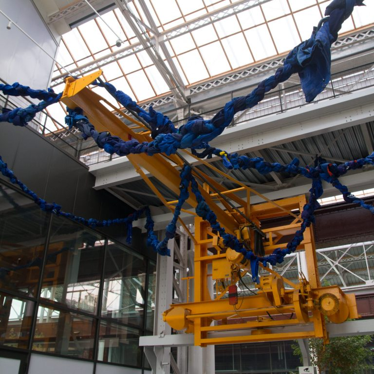 Ocnus' Rope, Public Art Installation, Soft Sculpture, Rope woven from 300 blue workclothes, Saint-Chamond, France, 2020.