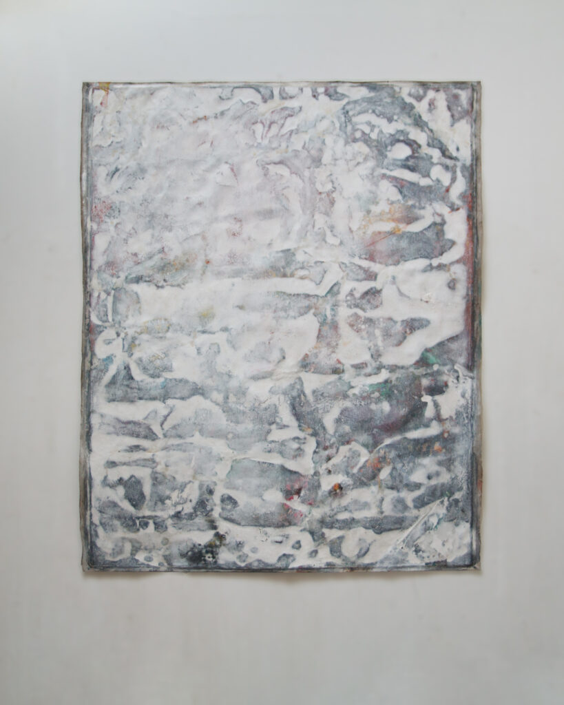 Whiteout no. 1, 167 x 204 cm (unstretched), mixed media on linen, 2021.