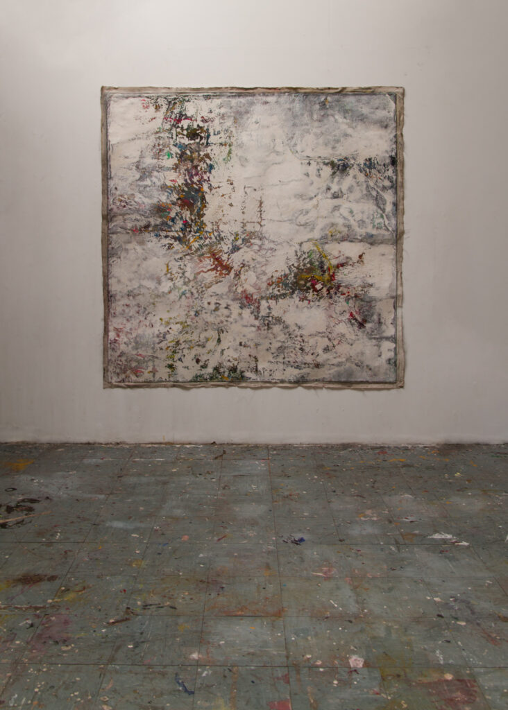 Whiteout no. 2, 208 x 211 cm (unstretched), mixed media on linen, 2021.